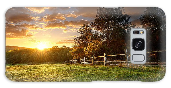 Scenery Galaxy Case - Picturesque Landscape, Fenced Ranch At by Gergely Zsolnai