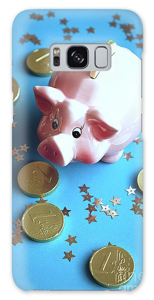 Piggy Bank On The Background With The  Chocoladen Coins Galaxy Case