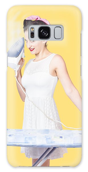 Vivacious Galaxy Case - Pin Up Woman Providing Steam Clean Ironing Service by Jorgo Photography - Wall Art Gallery