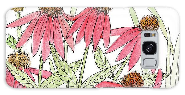 Pink Coneflowers Gather Watercolor Galaxy Case