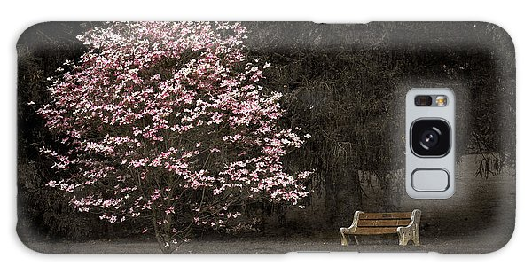 Pink Dogwood Tree And A Bench Galaxy Case