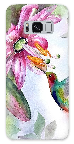 Pink Flower For Hummingbird Galaxy Case