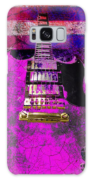 Galaxy Case featuring the digital art Pink Guitar Against American Flag by Guitar Wacky
