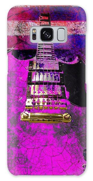 Pink Guitar Against American Flag Galaxy Case