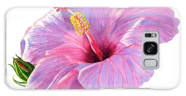 Hibiscus Galaxy Case - Pink Hibiscus Blossom With Blue Shadows by Sharon Freeman