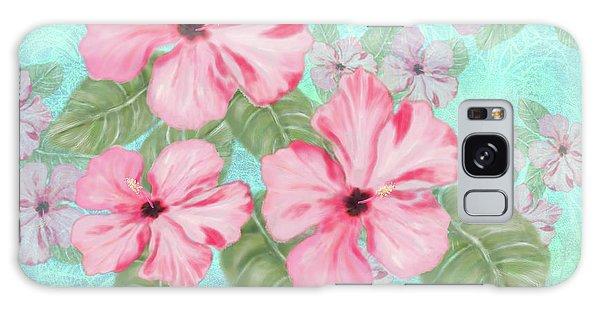 Pink Hibiscus Print On Aqua Galaxy Case