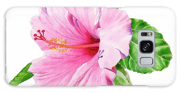 Hibiscus Galaxy Case - Pink Hibiscus With White Background by Sharon Freeman