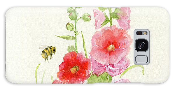 Pink Hollyhock Watercolor Galaxy Case