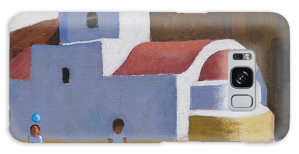 Islands In The Sky Galaxy Case - Playing By The Church, Karpathos, Greek Islands by Andrew Macara