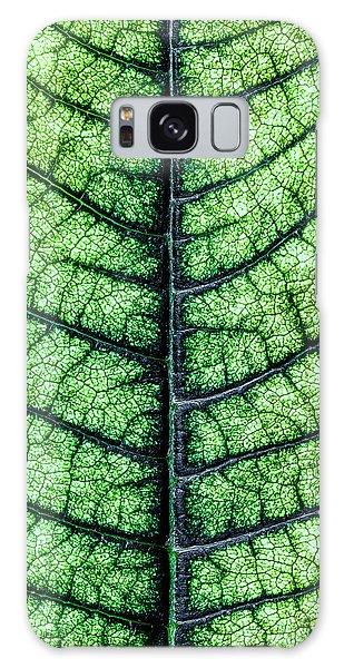 Green Leaf Galaxy Case - Poinsetta Leaf In Abstract Macro by Tom Mc Nemar