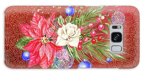Poinsettia With Blue Ornaments  Galaxy Case
