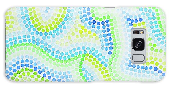 Pointillism - Blue And Green Curves Galaxy Case