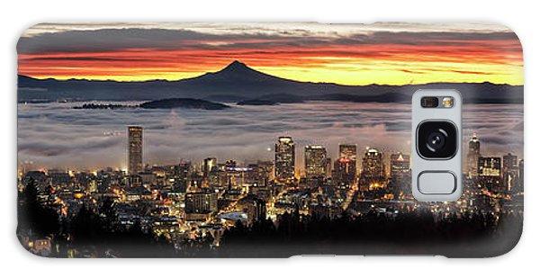 Portland Foggy Sunrise Galaxy Case