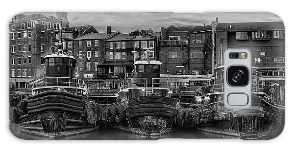 Portsmouth Tugboats At Dawnt In Black And White Galaxy Case