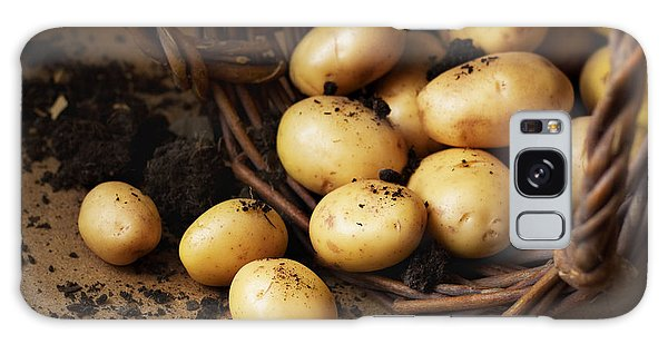 Cottage Galaxy Case - Potatoes In A Wicker Basket With Soil by Pinkyone