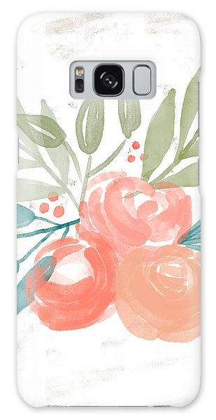 Galaxy Case featuring the mixed media Pretty Coral Roses 2- Art By Linda Woods by Linda Woods