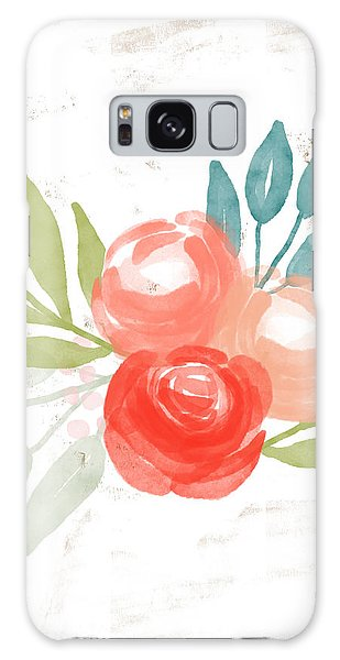 Galaxy Case featuring the mixed media Pretty Coral Roses - Art By Linda Woods by Linda Woods