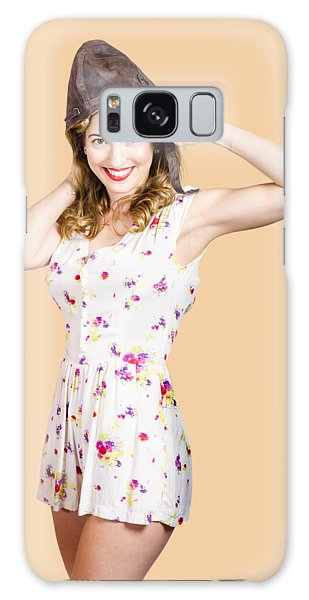 Vivacious Galaxy Case - Pretty Female Pinup Pilot In White Retro Dress by Jorgo Photography - Wall Art Gallery