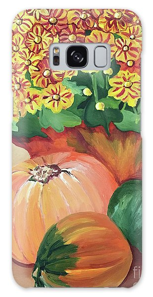 Pumpkin With Flowers Galaxy Case