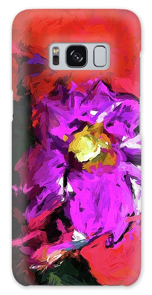 Purple And Yellow Flower And The Red Wall Galaxy Case