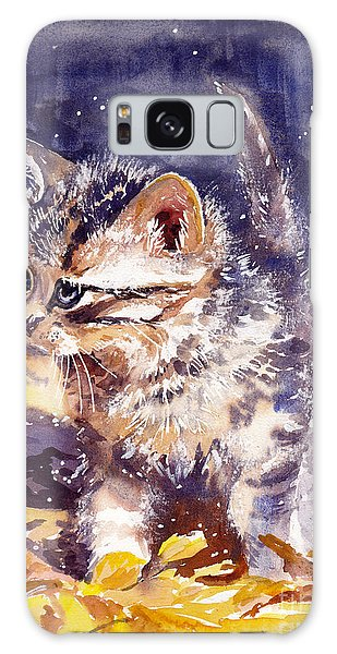 Flash Galaxy Case - Pussy On A Yellow Blanket by Suzann Sines