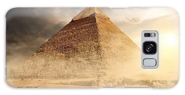 Travel Destinations Galaxy Case - Pyramid In Sand Dust Under Gray Clouds by Givaga