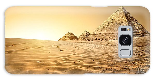 Travel Destinations Galaxy Case - Pyramids In Sand by Givaga