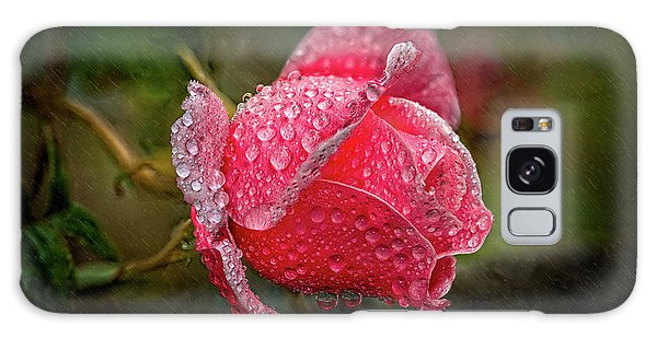 Galaxy Case - Rain Drops On A Rose by Adrian Evans