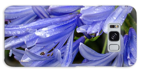 Rain Drops On Blue Flower II Galaxy Case