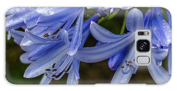 Rain Drops On Blue Flower Galaxy Case