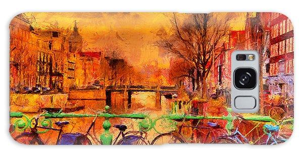 Dusk Galaxy Case - Rain Over Amsterdam Canal Impressionist by Ivan Aleshin