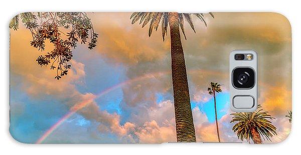 Rainbow Over The Palms Galaxy Case