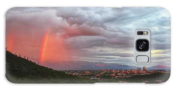Rainbow Over Tucson Skyline Galaxy Case