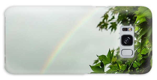 Rainbow With Leaves In Foreground Galaxy Case