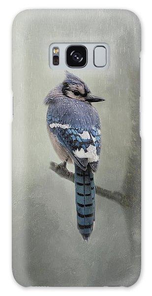 Rainy Day Blue Jay Galaxy Case
