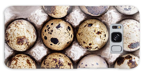 Eggs Galaxy Case - Raw Quail Eggs In Egg Holder From Above by Elena Veselova