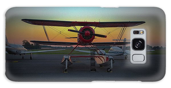 Red Biplane At Dawn Galaxy Case