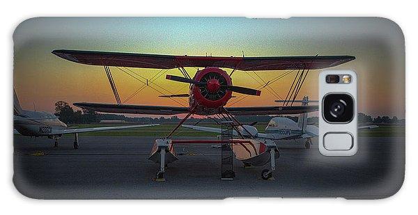 Red Biplane At Dawn Galaxy Case