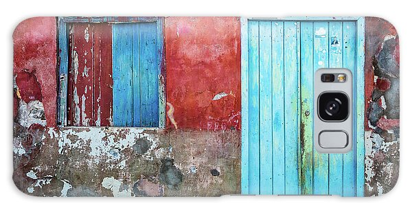 Red, Blue And Grey Wall, Door And Window Galaxy Case
