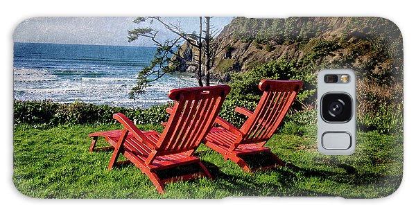 Red Chairs At Agate Beach Galaxy Case