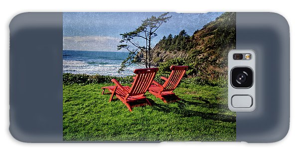 Red Chairs At Agate Beach Galaxy Case