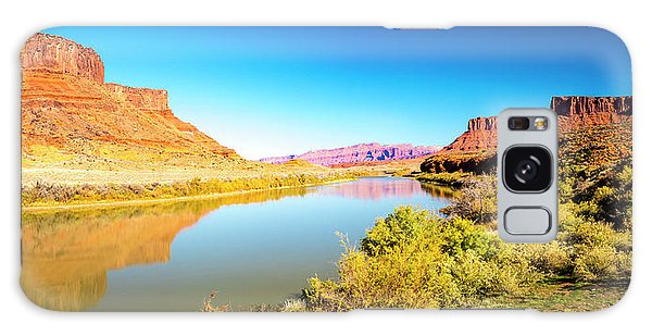 Galaxy Case featuring the photograph Red Cliffs Canyon Panoramic by David Morefield