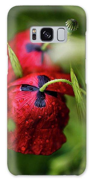 Soft Galaxy Case - Red Corn Poppy Flowers With Dew Drops by Nailia Schwarz