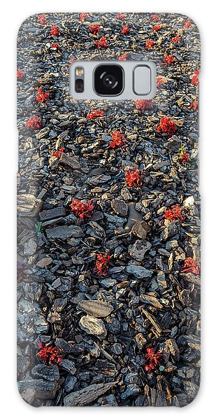 Red Flowers Over Stones Galaxy Case