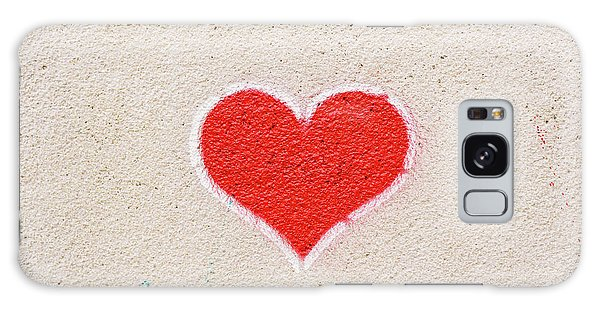 Red Heart Painted On A Wall, Message Of Love. Galaxy Case