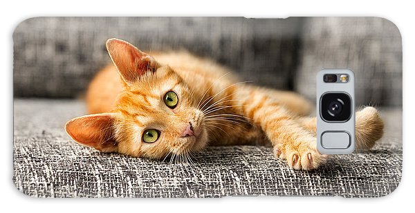 Claws Galaxy Case - Red Kitten Lying On Bed And Looking At by Lucky Business