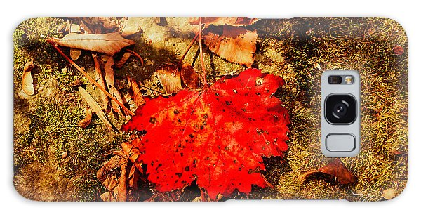 Red Leaf On Mossy Rock Galaxy Case