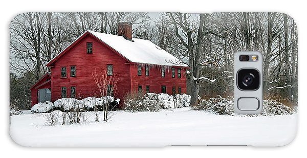 Red New England Colonial In Winter Galaxy Case