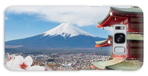Scenery Galaxy Case - Red Pagoda With Mt Fuji Background And by Tnshutter