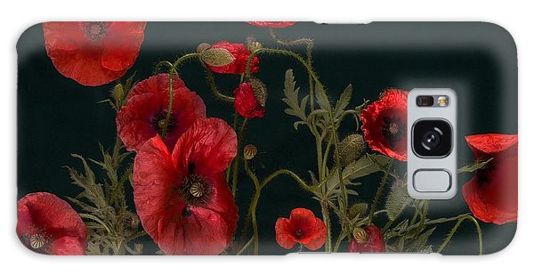 Red Poppies On Black Galaxy Case